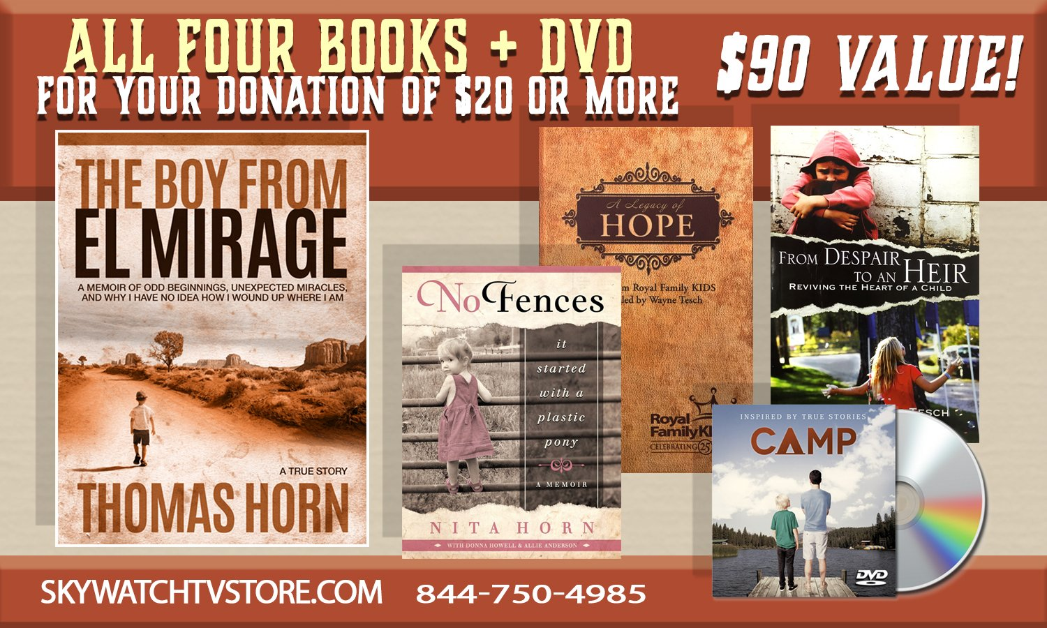 YOURS FOR ANY DONATION OF $20.00 OR MORE! LEARN THE SECRET TRUE STORY BEHIND DR. THOMAS HORN'S LIFE PLUS RECEIVE 4 BOOKS & DVD MOVIE!