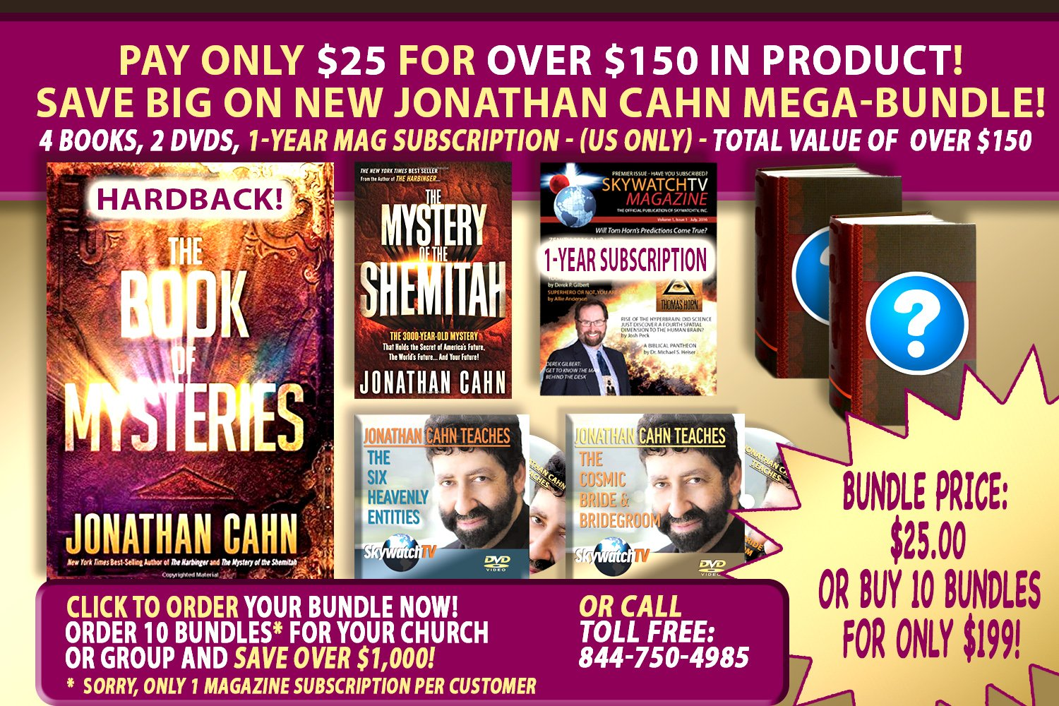 "IT'S THE BIGGEST GIVEAWAY ANYWHERE WITH RABBI JONATHAN CAHN'S NEW ""THE BOOK OF MYSTERIES""!"