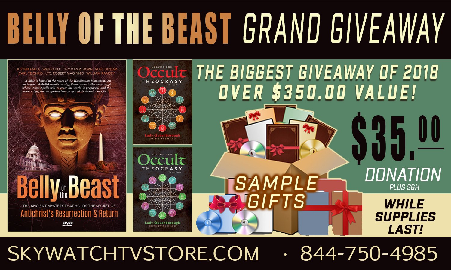 "IT'S THE BIGGEST GIAWAY OF 2018! OVER $350.00 IN FREE GIFTS WITH ""THE BELLY OF THE BEAST""!"